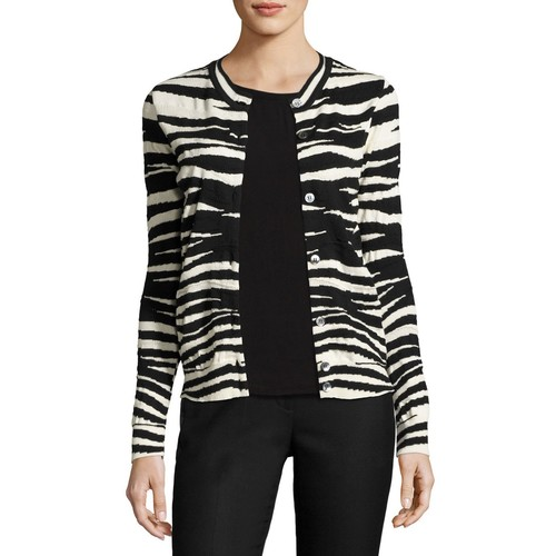 MARC JACOBS Zebra-Print Merino Wool Cardigan, Black/White