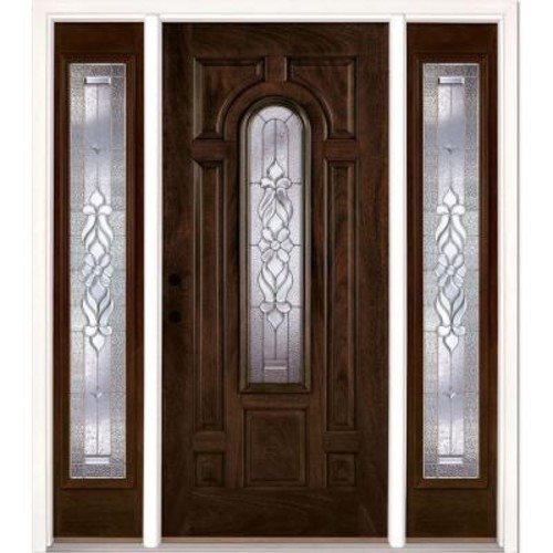 Feather River Doors 63.5 in. x 81.625 in. Lakewood Zinc Stained Chestnut Mahogany Right-Hand Fiberglass Prehung Front Door with Sidelites
