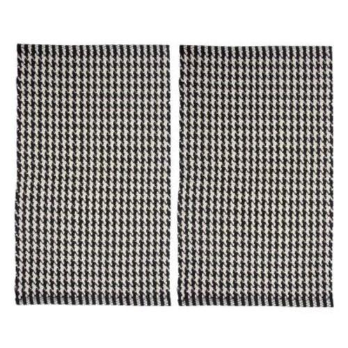 Chesapeake Merchandising Portland Houndstooth Black 2 ft. x 3 ft. 2-Piece Rug Set