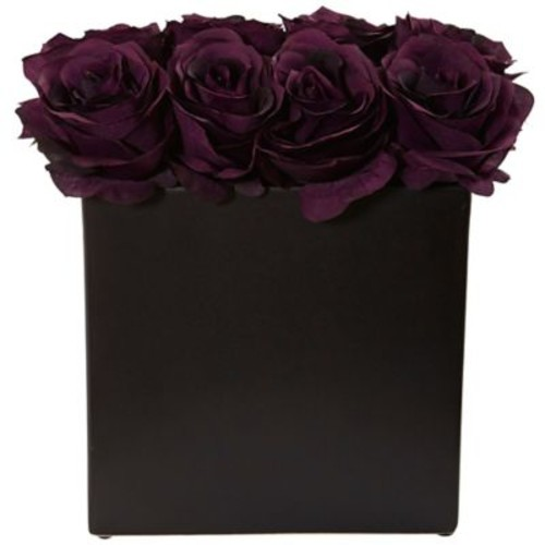 Nearly Natural Roses Arrangement in Black Vase (1510-PE)