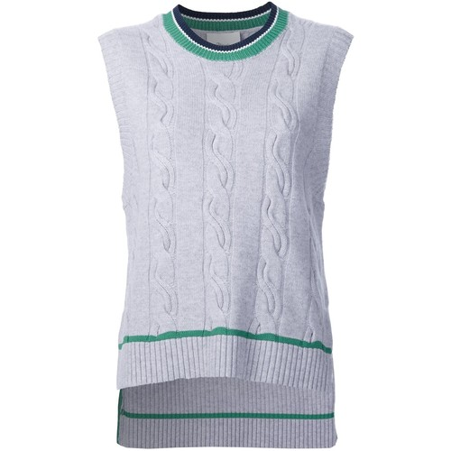 cable knit sleeveless jumper