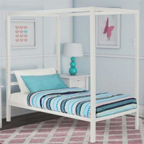 Dorel DHP Modern Metal Twin Canopy Bed in White