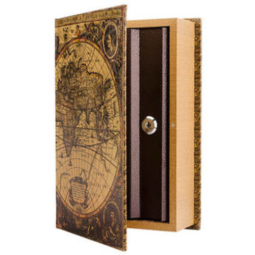 Barska Antique Map Book Lock Box with Key Lock CB12480