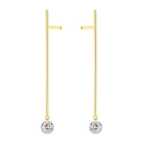 18K Yellow Gold Large Majorette Diamond Pendant Earrings