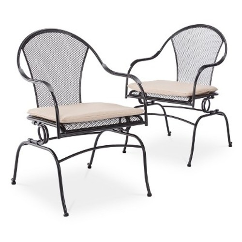 Hamlake 2pc Wrought Iron Patio Motion Dining Chair Set