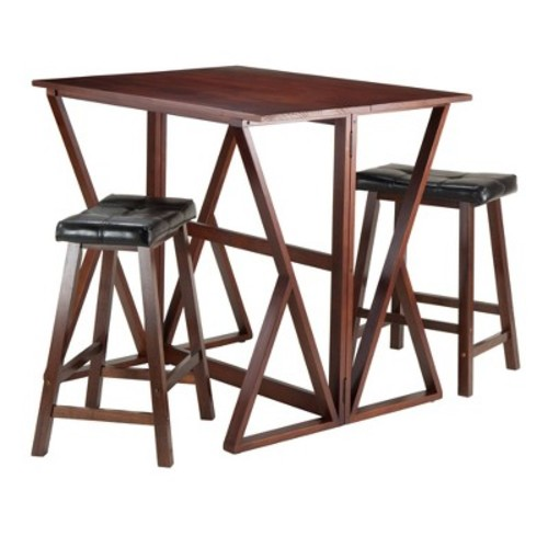 3 Piece Harrington Set Drop Leaf High Table with Cushion Counter Stools Wood/Walnut/Black 24\