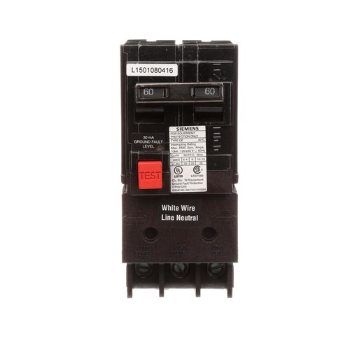 Siemens QE260 Ground Fault Equipment Protection Circuit Breaker; 2-Pole, Plug-In Mount