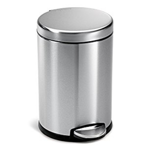 simplehuman Mini Round Step Trash Can, Stainless Steel, 4.5 L / 1.2 Gal [Brushed Ss]