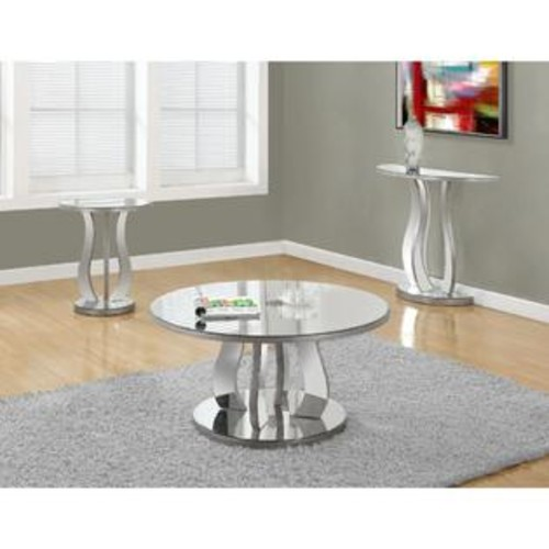 Monarch 20-inch Brushed Silver Mirror End Table