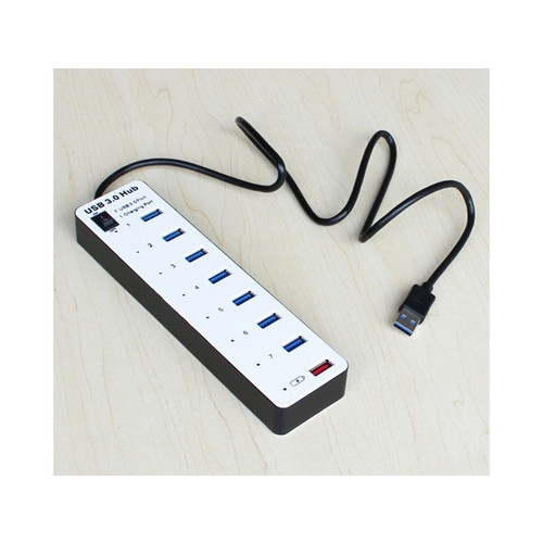 7 Ports Aluminum SuperSpeed USB 3.0 Hubs with One USB Charging Port
