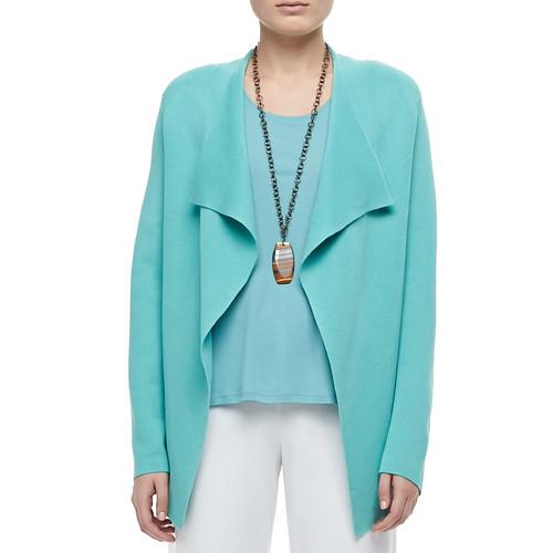 EILEEN FISHER Silk-Cotton Interlock Jacket