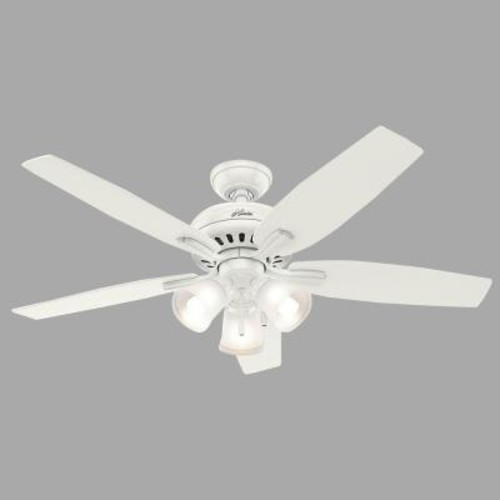 Hunter Newsome 52 in. Indoor Fresh White Ceiling Fan with Three Light Kit
