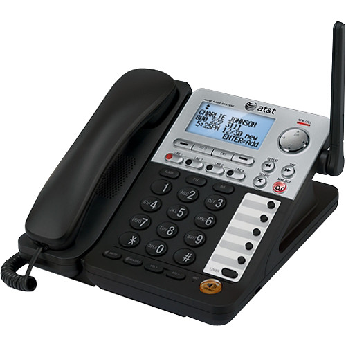 AT&T - DECT 6.0 Corded Expansion Deskset for Select AT&T Expandable Phone Systems - Black/Silver