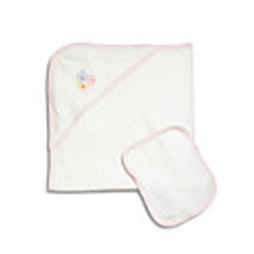 Infant's Two-Piece Pink Blocks Towel Set