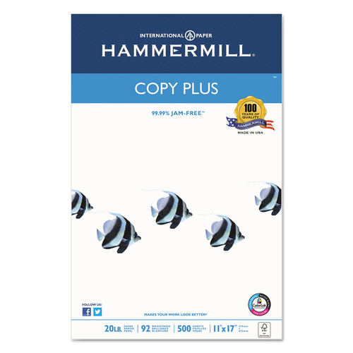 Hammermill HAM105023 Copy Plus Copy Paper, 92 Brightness, 20lb, 11 x 17, White, 500 Sheets/Ream