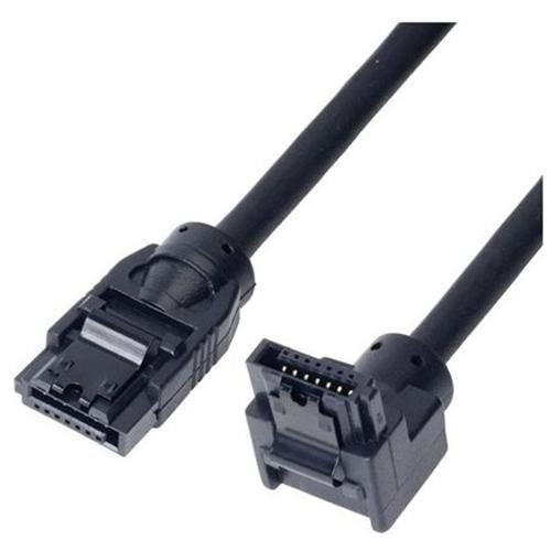 Cable SATA III Straight to Right Angle 6Gb/s 1.0 Meter Black - Link Depot - LD-SATA3L-1M