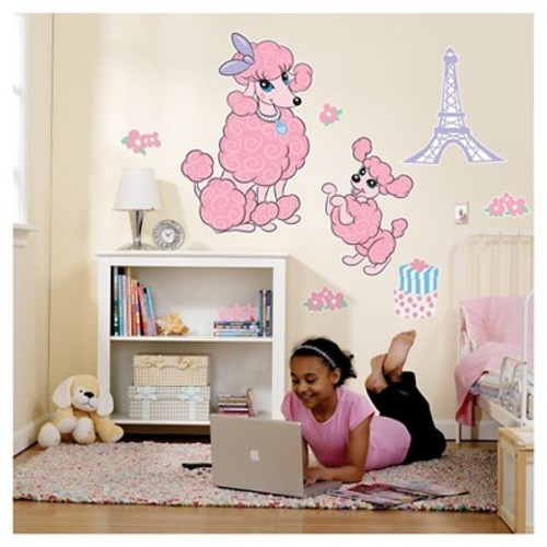 Pink Poodle in Paris Giant Wall Decal