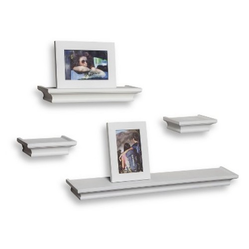 Set of 4 Cornice Ledge Shelves with Photo Frames- White