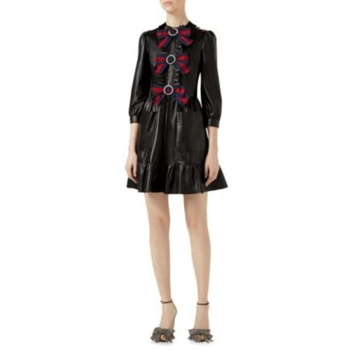 GUCCI Bow-Front Leather A-Line Dress