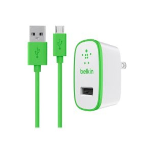 Belkin Universal Home Charger with Micro USB ChargeSync Cable - Power adapter - 10 Watt - 2.1 A ( USB (power only) ) - on cable: Micro-USB - green