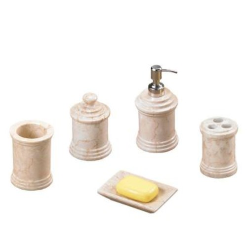 Creative Home Column 5-Piece Bath Set in Champagne Polished Marble