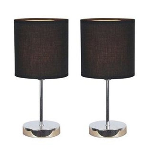Simple Designs Home Simple Designs Chrome Mini Basic Table Lamp with Fabric Shade 2 Pack Set, Black