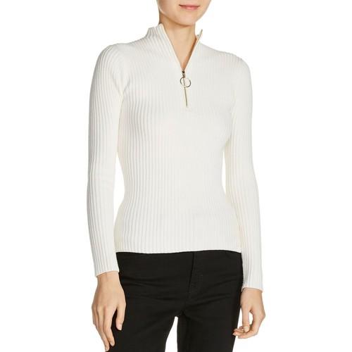 MAJE Mariano Zip-Detail Ribbed-Knit Sweater