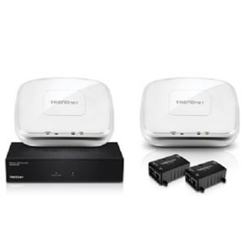 TRENDnet N300 Wireless Controller Kit - 5x Gigabit Ports, 1x PoE Gigabit LAN Port, 1x USB Port, 2.4 GHz: 2x 4 dBi Antenna Gain, up to 128 Wireless Access Points, LED indicators - TEW-755AP2KAC