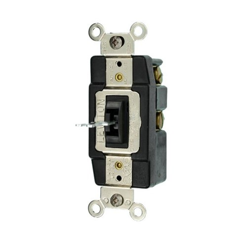 Leviton 20 Amp Industrial Grade Heavy Duty Single Pole Double-Throw Center-Off Maintained Contact Locking Switch, Brown