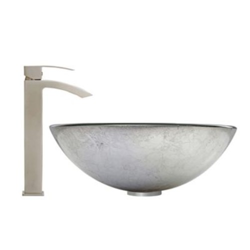 Vigo Simply Silver VGT603 Glass Vessel Sink and Duris Faucet Set in Brushed Nickel