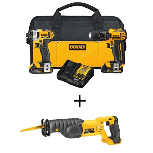 DEWALT 20-Volt MAX Lithium-Ion Cordless Drill/Driver Combo Kit (2-Tool) with Bonus Bare Cordless Reciprocating Saw