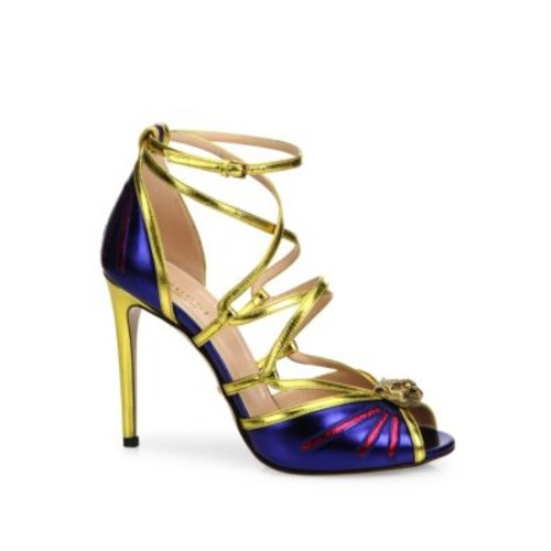 GUCCI Bette Tiger Metallic Leather Sandals