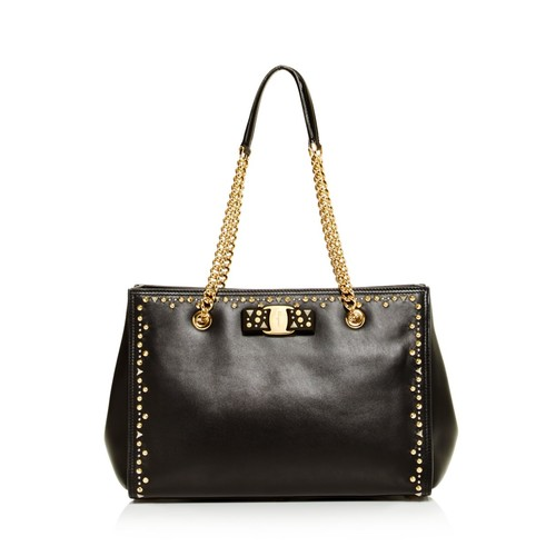 SALVATORE FERRAGAMO Melike Studded Leather Tote