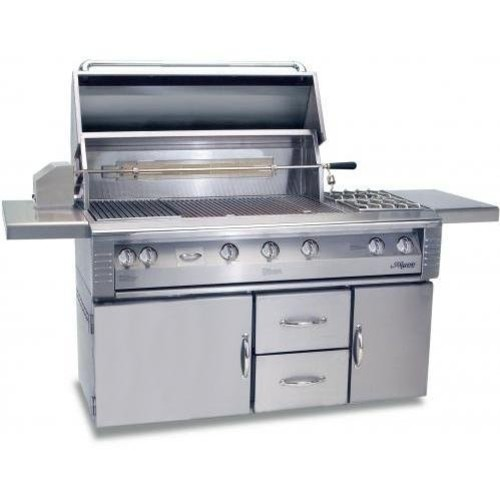 Alfresco Lx2 56-inch Natural Gas Grill On Refrigerated Cart With Rotisserie And Side Burner