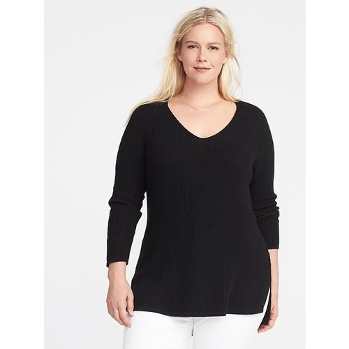 Plus-Size Shaker-Stitch Tunic Sweater