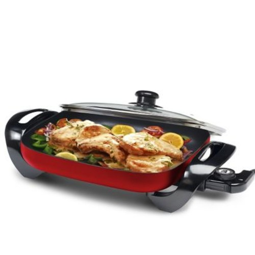 Elite by Maxi-Matic Gourmet 15'' x 12'' Electric Skillet w/ Glass Lid; Red