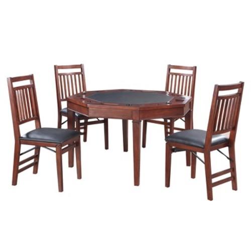 Hathaway Broadway 48-in Folding Poker Table & Chairs Set - Walnut