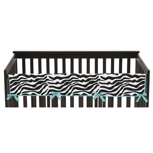 Sweet Jojo Designs Long Crib Rail Guard Cover for the Turquoise Funky Zebra Collection by