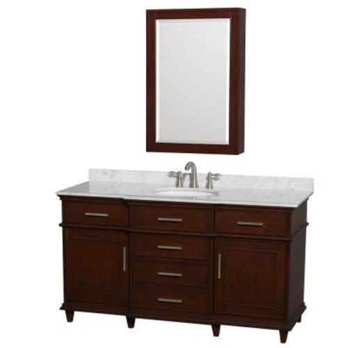 Wyndham Collection Berkeley 60 in. Vanity in Dark Chestnut with Marble Vanity Top in White Carrara, Round Sink and Medicine Cabinet