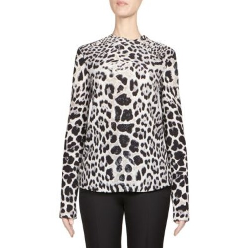 SAINT LAURENT Leopard-Print Crêpe De Chine Asymmetrical Blouse