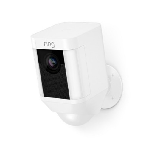 Ring Spotlight Cam Battery Outdoor Rectangle Security Camera, White