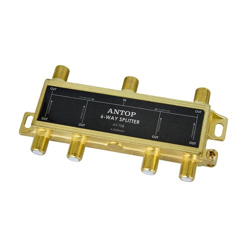 Antop Coaxial Splitter 6-Way 2GHz 5-2050MHz Low Loss RF for TV Satellite Cable All Port DC Power