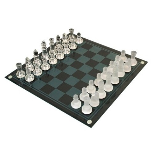 Classic Game Collection Etched Glass Chess Board Game Set