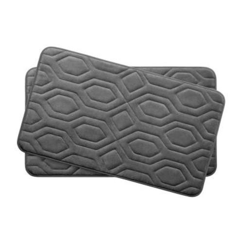 BounceComfort Turtle Shell Dark Gray 17 in. x 24 in. Memory Foam 2-Piece Bath Mat Set