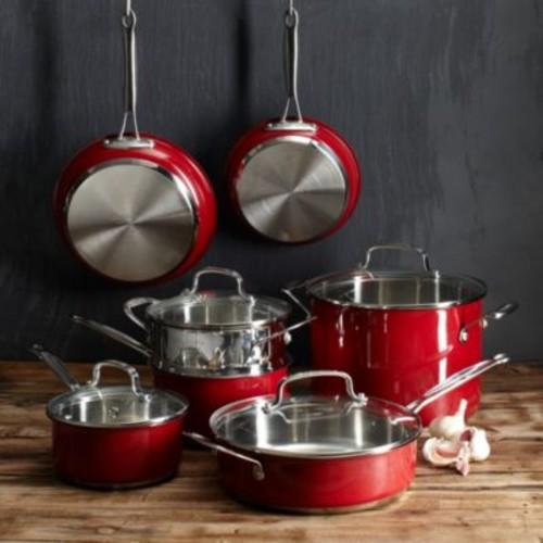 Cuisinart 11-Piece Metallic Red Cookware Set