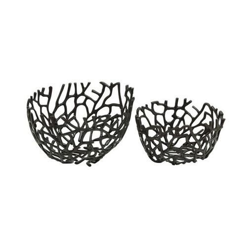 Modern Reflections Aluminum Deep Round Vine Bowls (Set of 2)