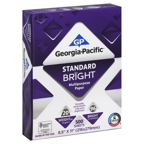 Georgia Pacific Paper, Standard Bright, Multi-Purpose, 8-1/2 x 11 Inch 500 sheets