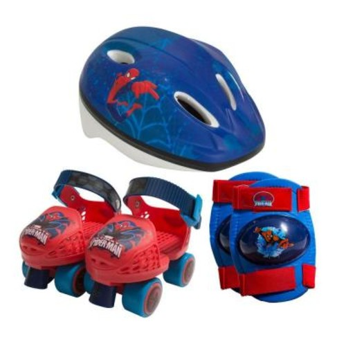 Playwheels Spider-Man Kids Roller Skates Junior Size 6-12 with Knee Pads and Helmet