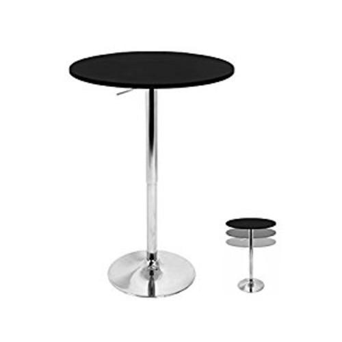 WOYBR BT-ADJ23TW BK Mdf, Chrome Table Top Does Not Spin. Adjustable Bar