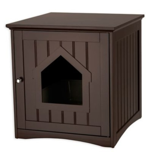 Trixie Pet Products Wooden Cat House and Litter Box in Espresso